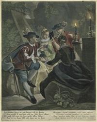gruppe von zwei verliebten spaniern und zwei frauen im garten bei abendlicht by johann elias ridinger