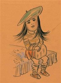 3 bl. zeichnungen. wohl vorlagen für nicht publizierte kinderbuchillustrationen by karl hubbuch