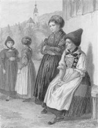 tiroler frauen in festtagkleidung vor dem kirchgang by albert kretschmer