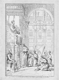 pilger, betend vor der statue des hl. petrus in st. peter zu rom by carl hess