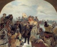 der große kurfürst friedrich wilhelm vor der überquerung des kurischen haffs am 19. januar 1679 by wilhelm simmler
