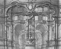 entuwrf zu einer palaskarchitektur mit säulenreihen by giuseppe valeriani