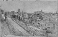blick auf rom vom monte pincio aus, links trinità del monte, im hintergrund der quirinal by julius jacob the elder