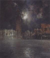 piazza san marco mit dogenpalast bei heller mondnacht by karl leipold