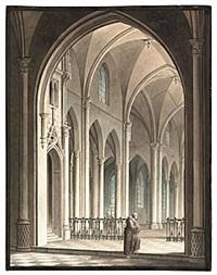interieur af en kyrka i götisk styl by emanuel limnell