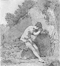 weibliche figur an einem felsen sitzend by johann heinrich tischbein the younger