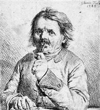 brustbild eines rauchenden mannes by johann gottlieb glume