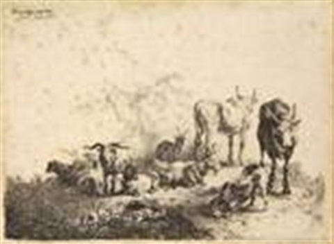 landscape with the cattle and the milkmaid (after p. van laer) by jan van noordt