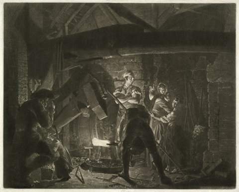 an iron forge der eisenhammer after joseph wright of derby by richard earlom