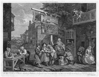 four prints of an election (4 works) by william hogarth