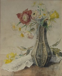 still life of red and yellow flowers in a vase by margaretha roosenboom