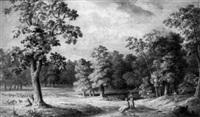arkadische landschaft mit hirtenknaben und jungen mädchen by heinrich von rapp