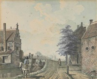 a view of the new tollbridge by the burgvliet house with the drievliet house in the distance, rijswijk, holland by johannes huibert (hendric) prins