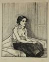 zittende vrouw met naakt bovenlijf by charley toorop