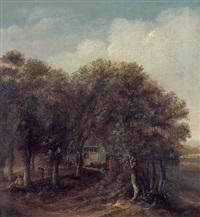 waldlandschaft mit einem bauernhaus by isaac koene