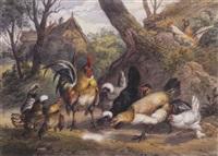 hahn und hühner zwischen bäumen vor einem bäuerlichen anwesen by ernst hasse