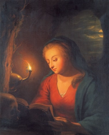die hl maria magdalena in der grotte after godfried schalcken by julie lisiewski