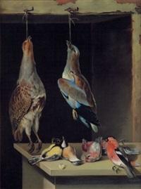 jagdstilleben mit rebhuhn, eichelhäher und anderen singvögeln by lambert van bokkelen