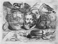 studienblatt mit gesichtern und tieren by michael snyders