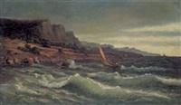 steiniger küstenstreifen mit booten auf bewegter see by mikhail alisov