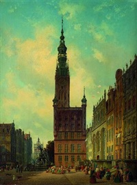 gotisches rathaus und vorderer teil des langen marktes in danzig by carl gustav rodde