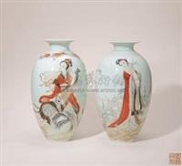 墨彩矾红描金十二花神瓶 (两件) (a vase) (2 works) by xia zhongyong