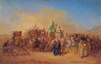 pilgerkarawane in der wüste by johann hermann kretzschmer