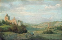 landschaft mit blick auf eine ruine und einen zeichner by august (friedrich a.) reinhardt