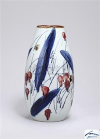 青花釉里红花卉瓶 (flowers vase) by bai ming