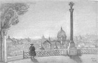 blick auf rom vom minte pincio aus, links im hintergrund dad pantheon und der quirinal by julius jacob the elder