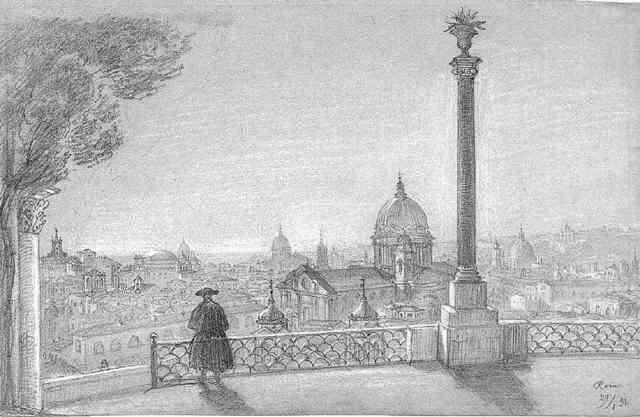 blick auf rom vom minte pincio aus links im hintergrund dad pantheon und der quirinal by julius jacob the elder