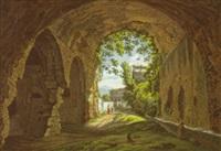 die porta scura - der eingang in die villa des maecenas in tivoli by johann erdmann hummel