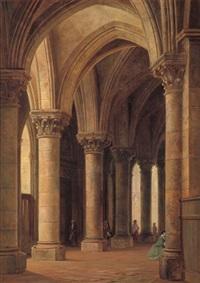 blick in ein gotisches kirchenschiff mit mehreren besuchern by johann friedrich stock