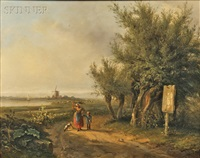 summer landscape with a peasant woman on a sandy track by abraham-johannes couwenberg