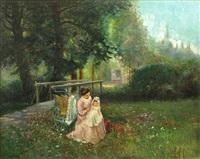 mère et son enfant dans un parc by george charles aid