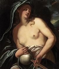 die hl. maria magdalena mit totenschädel und kreuz vor einer landschaft by ludovico antonio david