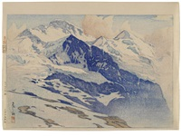 from the europe series, entitled yungufuraa-san (the jungfrau) (ogura #15) by hiroshi yoshida