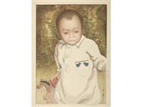 kodomo (a child)/portrait of a boy by hiroshi yoshida