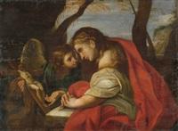 maria magdalena mit dem engel in einer landschaft by antiveduto grammatica
