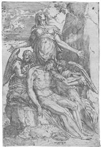 toter christus von engeln gehalten by battista angolo del moro
