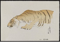 from the series at the zoological garden, entitled tora (tiger) (ogura #74) by hiroshi yoshida