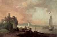 capriccio mit einer südlichen hafenstadt, in der bucht eine galeone mit gesetzten segeln by jan abrahamsz beerstraten