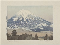 the first entitled fujisan gotenba/fuji from gotenba (ogura 125) (+ 3 others; set of 4) by hiroshi yoshida