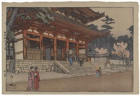 romon (tower gate)/chion-in temple gate (ogura #194) (+ 3 others; set of 4) by hiroshi yoshida