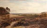 an extensive landscape with two figures, a donkey and a dog on a track by charles thomas burt