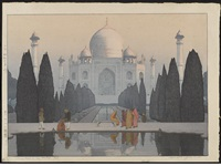 from the series india and southeast asia, entitled taji maharu no asagiri daigo and morning mist in taji mahal no 5 (ogura #173) by hiroshi yoshida