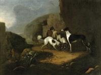 südliche landschaft mit jagdhunden by adriaen beeldemaker