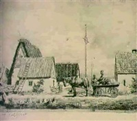 gardsexterior med hast och vagn by david ahlqvist