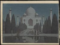 from the series india and southeast asia, entitled taji maharu no you dairoku and morning mist in taj mahal no 6 (ogura #174) by hiroshi yoshida