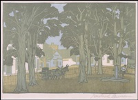 courthouse yard by gustave baumann